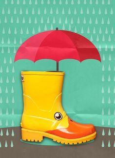 JUJU Jellies. 'Nice weather for ducks' #vector #umbrella #weather #young #graphic #child #duck #rain #art #kids #fun