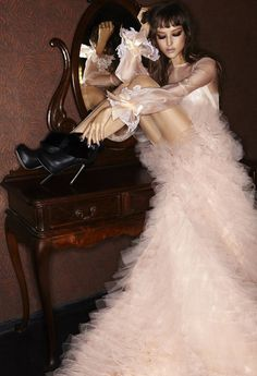 Fashion photography(Pink Couture Ruffle Gown, via walkingthruafog) #fashion #photography