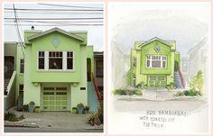 Awesome Portraits of Iconic San Francisco Houses The Bold Italic San Francisco #illustration