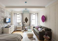 Energizing and Feminine: Small Studio Apartment in Manhattan #design #decor #ideas #studio #apartment