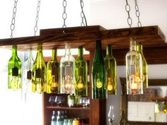 25 Creative Wine Bottle Chandelier Ideas #chandelier #light #wine #bottle