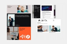 New logo, custom typeface, posters, banners, supergraphics and tote bags for Nordic technology and management consultancy Avo designed by Blee