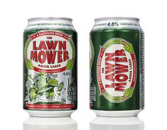 Lawn Mower Amber Lager Cans #beer #can #label #packaging