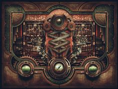 Steampunk Motherboard #design #steampunk #illustration #motherboard #vintage