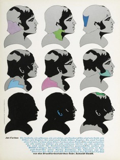 Milton Glaser, ad illustration for printing colors, 1971. Design Olaf Leu. From Graphis. Source