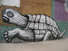 Artist Phlegm and his turtle street art #abstract #surrealism #art #street #surreal