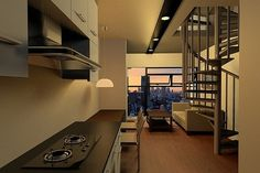 rhys #interior #spiral #living #homes #kitchen #lamps #stove #staircases #room