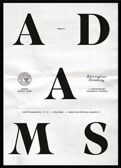 Adams | Erapuro #black #white #poster #typography