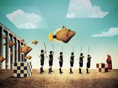 Julien Pacaud / Tutorials / colagene.com #army #sky #dali #fish #men #arrow #surrealistic #cube