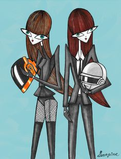 Girly Daft Punk #mexico #illustration #daftpunk #music #fashion