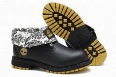 Timberland Roll Top Boot Black White Gold Mens