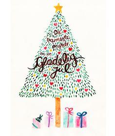 Glædelig jul Christmas Card #christmas #danish #christmas tree #hearts #star #merry christmas #presents #jolly #jul
