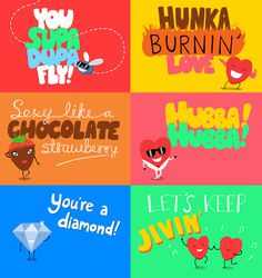 Valentine's Cards - Tom Wolley #heart #diamond #chocolate #strawberry #illustration #fly #jiving
