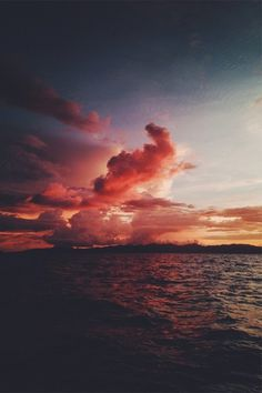 Likes | Tumblr #sunset #sea #pink #violet #sky #clouds