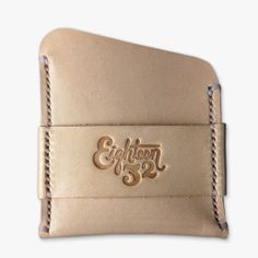 Cardholder - Natural Veg Tan and White Stitching — Eighteen32