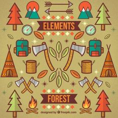 #element #forest#free #vector #color #arrows #wood #hatchet #backpack