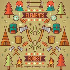 #element #forest  #free #vector #color #arrows #wood #hatchet #backpack
