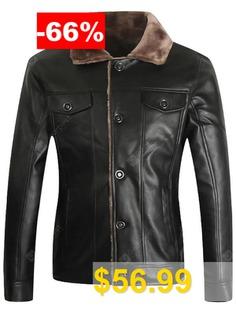 Men's #PU #Leather #Jacket #Autumn #Winter #Slim #Fashion #Double #Pockets #Slant #Button #Coat #- #BLACK