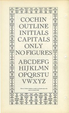 Cochin Outline Initial Capitals #type #specimen