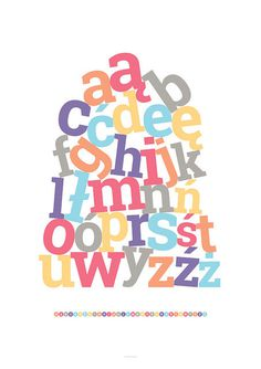 Polish alphabet #print #children #poster #typography
