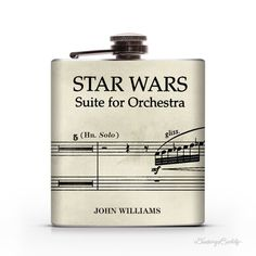 Star Wars Vintage Musical Notes John Williams 6oz Liquor Hip Flask #solo #jedi #williams #flask #han #wars #force #john #star
