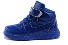 True Blue Patent Nike Air Force One Leather Basketball Sneakers - Kids and Youth #shoes