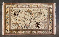Oriental rug made of silk. QOM/IRAN, 20. Century, approx. 206x140 cm