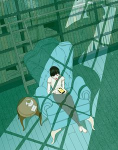 Marcos Chin Colour #couch #chair #illustration #mobile #library #window #light #shadow