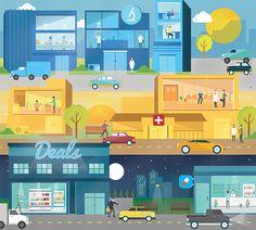 City That Never Sleeps on Behance #flat #pharmacy #city #commercial #night #illustration #day