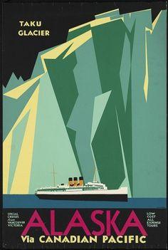 Alaska via Canadian Pacific. Taku Glacier | Flickr - Photo Sharing! #taku #lithography #alaska #travel #glacier #poster #pacific #canadian