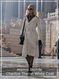Charlize Theron has been appreciated by All Her Fans on the Globe, and so did Her White Coat She Played an Amazing Character as Spy for Lorraine Broughton. #atomicblonde #charlizetherono #whitecoat #lorrainebroughton #filmcoat #femalecoat #fashion #fashionforwomen #giftsforher