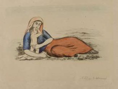 """Georg Schrimpf, """"Reclining woman with child"""""""