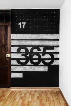 helvetica typography on chalkboard
