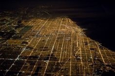 All sizes | Chicago at night, from 36,000 feet | Flickr - Photo Sharing! #urban #chicago #city #lights #night #grid