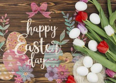 Happy easter day Free Psd. See more inspiration related to Flower, Mockup, Floral, Template, Typography, Spring, Celebration, Happy, Font, Bow, Holiday, Mock up, Easter, Plant, Drawing, Religion, Egg, Painting, Calligraphy, Lettering, Traditional, Blossom, Tulip, View, Up, Day, Top, Top view, Cultural, Tradition, Mock, Seasonal and Paschal on Freepik.