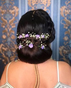 Elegant Chignon With Lavender Flowers
