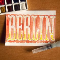 Berlin postcard by Adria Molins Design Barcelona - https://www.behance.net/adriamolins #calligraphy #watercolor #lettering #molins #design #graphic #adria #adriamolins #barcelona #brush #postcard #berlin #typography