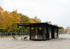 Kiosque is a minimalist space located in Paris, France, designed by Ronan & Erwan Bouroullec