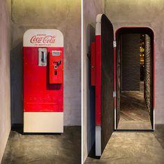 alberto caiola the press flask bar inside vending machine shanghai china designboom #coke