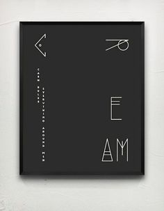 Typography poster, C.R.E.A.M. Black #artdeco #cream #retro #black #stylised #typeface #poster #typography
