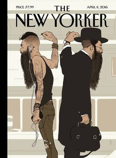 New Yorker cover by Tomer Hunaka. New york subway scene hipster and orthodox beard