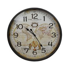 Thin Rim MDF World Map Round Wall Clock, 68cm