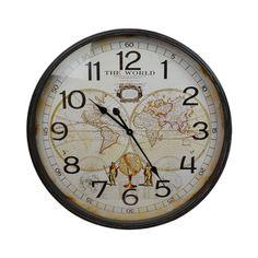Thin Rim MDF World Map Round Wall Clock, 68cm