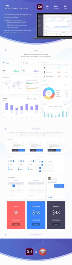 Free Dashboard UI Kit for Adobe XD