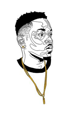 Illustration - 2014 on Behance #music #hair #illustration #chain #portrait #gold #hop #lamar #kendrick #rap #hip