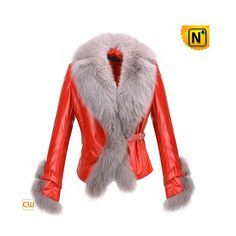 Womens Fur Trimmed Leather Jacket CW611205
