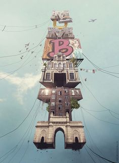 Mumbai on Behance #showusyourtype #mumbai #india #type #digital #illustration #floating #architecture #your #show #art #us #typography