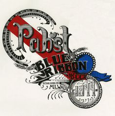 Pabst Blue RIbbon #beer #design #illustration #vintage #hops #type #hand #pabst #typography