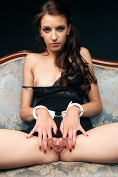 Dreaming of a gentleman Laura S handcuffs herself and takes panties off