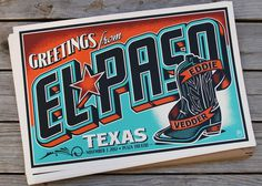 elpaso #illustration #vintage #postcard #gig